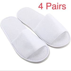 4 Pairs Spa Hotel Disposable Terry White Slippers